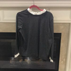 Gray lightweight sweater with white collar & cuffs